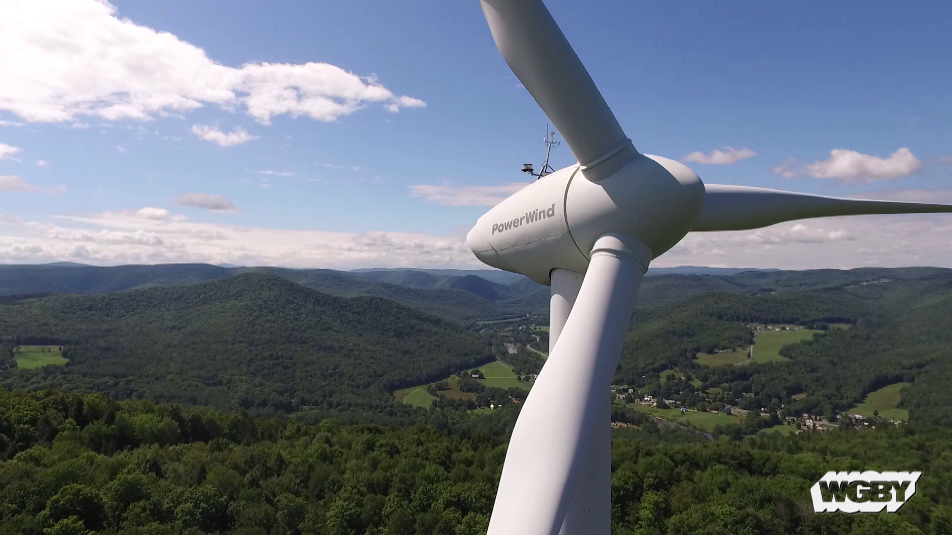 The Berkshire East Renewable Energy facility uses wind turbines and solar panels to generate enough power to operate the Charlemont, MA ski area.