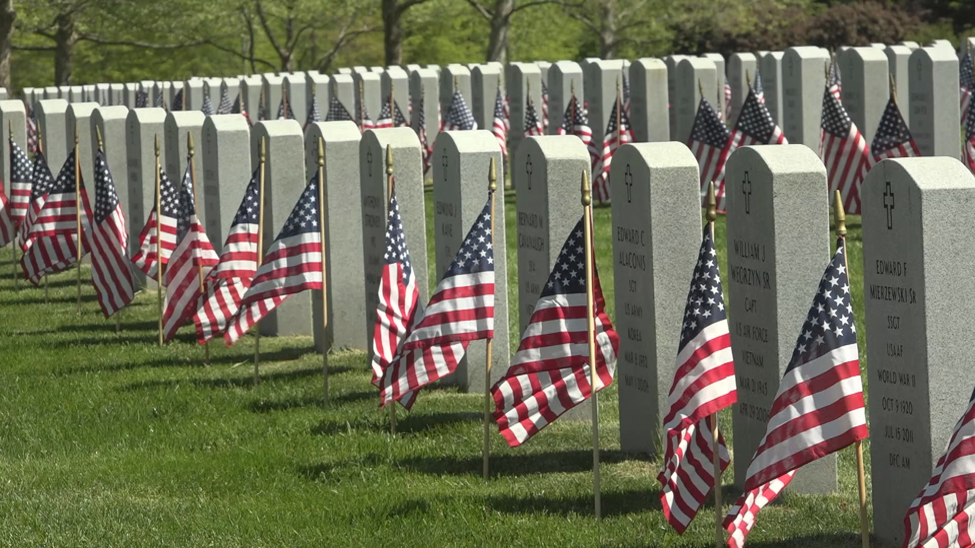 Visit the Veterans Memorial Cemetery in Agawam, where the coronavirus pandemic couldn't stop the annual tradition of planting flags on veterans' graves.