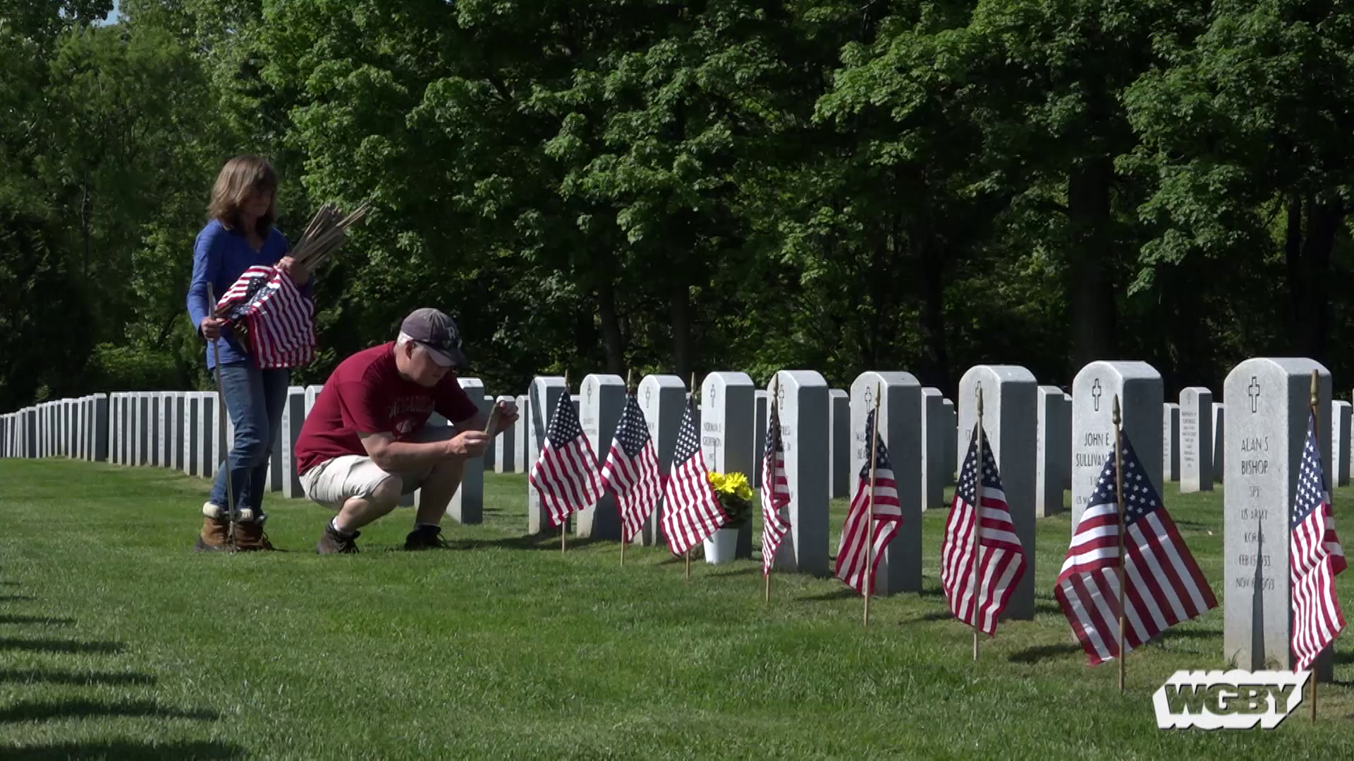 Each year, hundreds of volunteers gather on the Wednesday before Memorial Day to participate in Flag Decoration Day at the Veterans Memorial Cemetery in Agawam. Producer Dave Fraser joined the volunteers as adorned over 9,000 grave markers with an American flag.