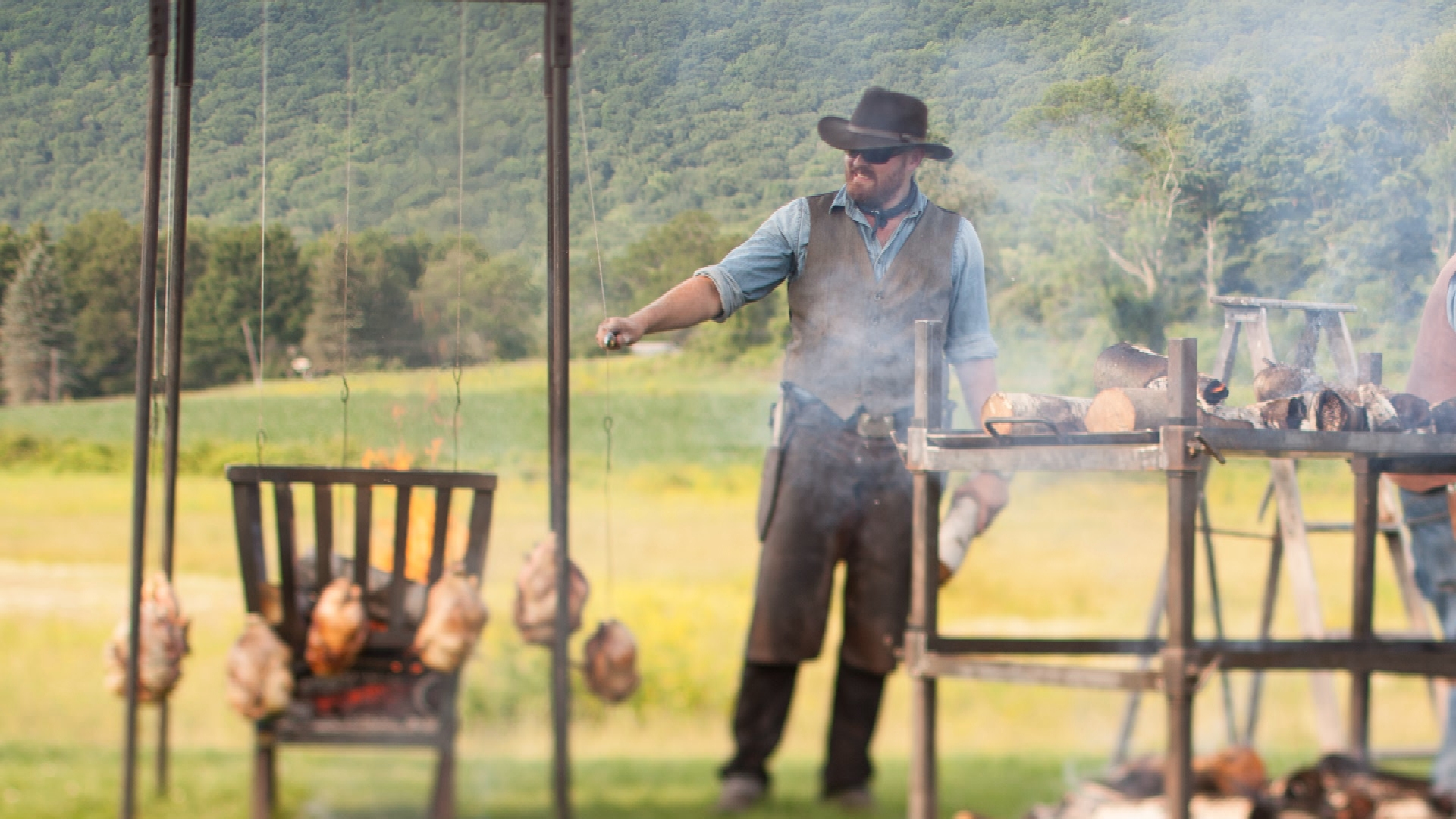 Knifemaker Jim Gop crafts his cooking knives in his Richmond, MA forge.