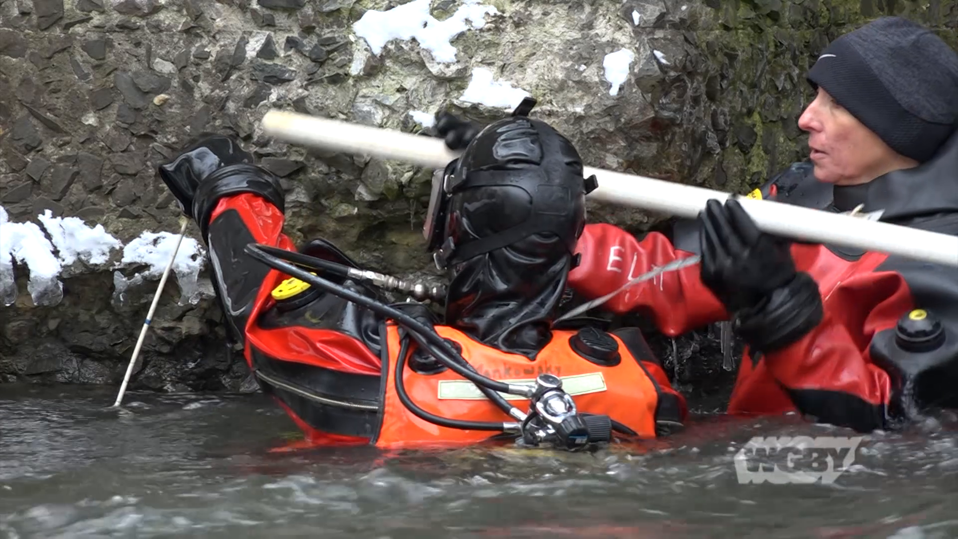 Dive deep under with the specially-trained Mass DOT Dive Team as they inspect the underwater stability of a bridge in Palmer, MA.