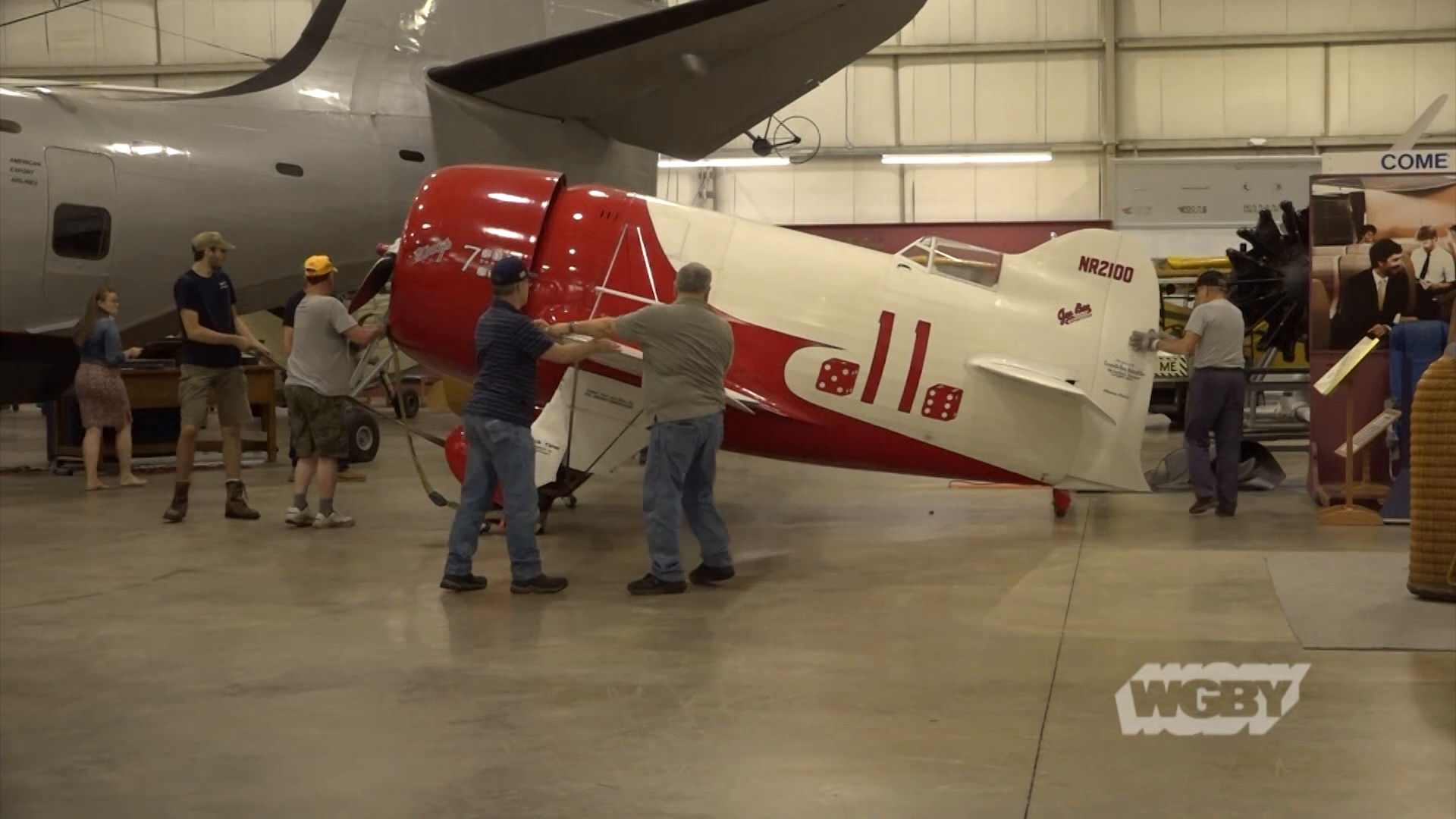 Peek behind the curtain and see how a dedicated group of volunteers painstakingly restores the exhibits at the New England Air Museum in Windsor Locks, CT.