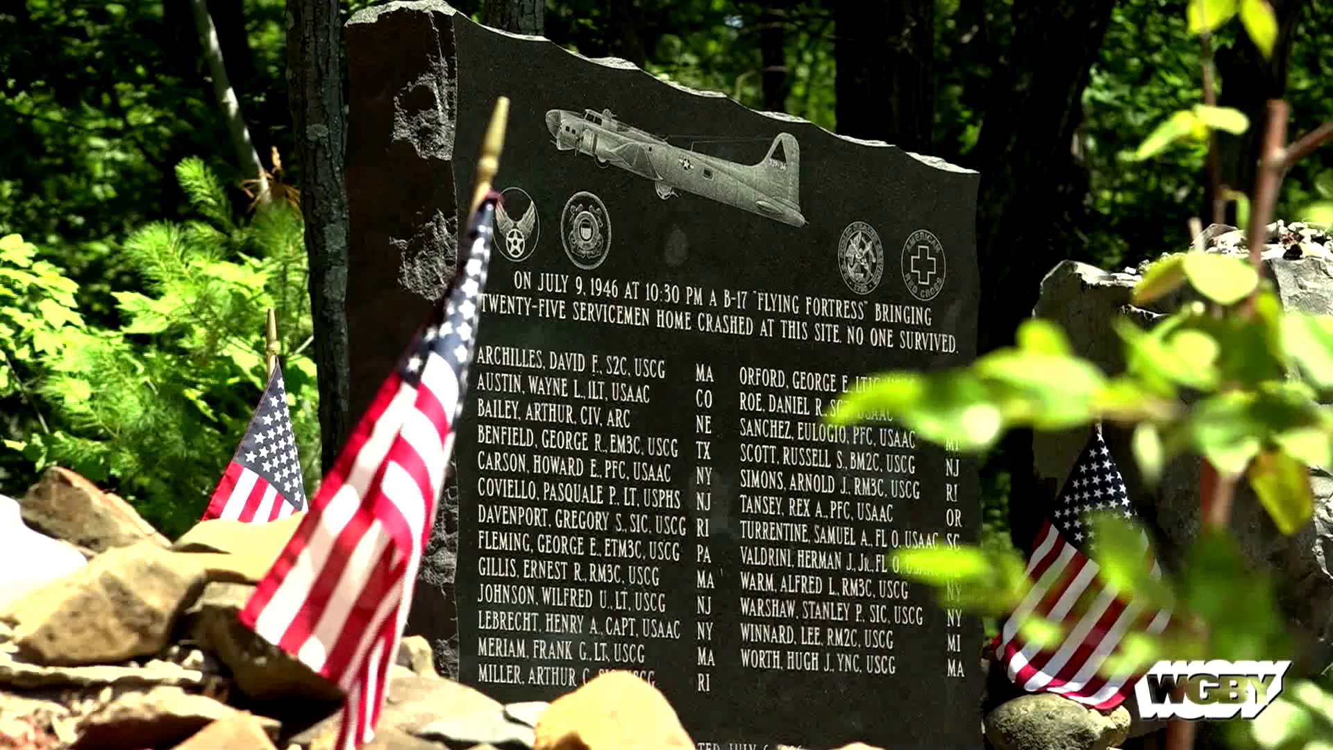 Friends & family of the victims of the Mt. Tom B-17 crash gathered to mark the 72nd anniversary of the accident, which killed 25 returning WWII servicemen.