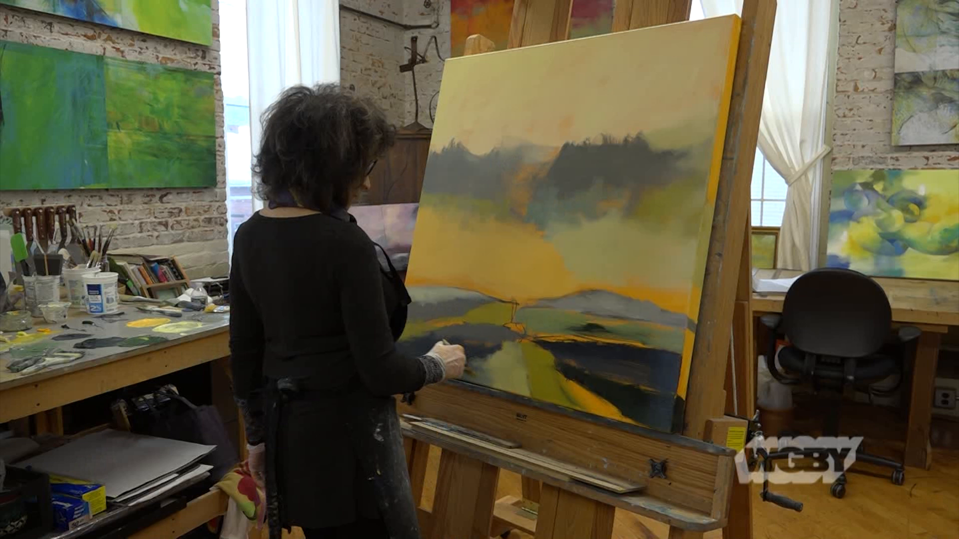 Visit Cottage Street Studios in Easthampton for a closer-look at the dreamy, large-scale landscape paintings crafted by artist Laura Radwell.
