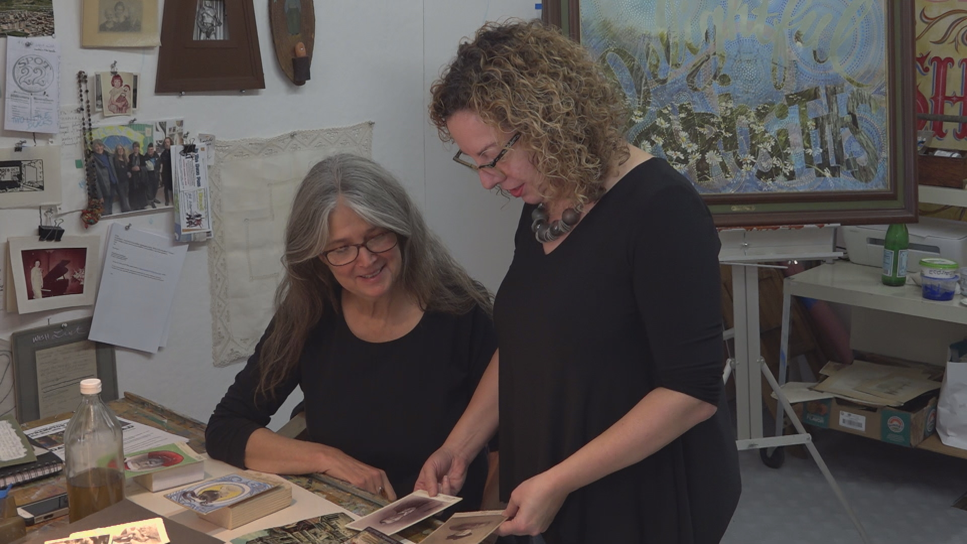 """Vintage photography collector Stacy Waldman & side-show """"Banner Queen"""" artist Amy Johnquest teamed up to open Spot 22 Gallery & studio space in Easthampton."""