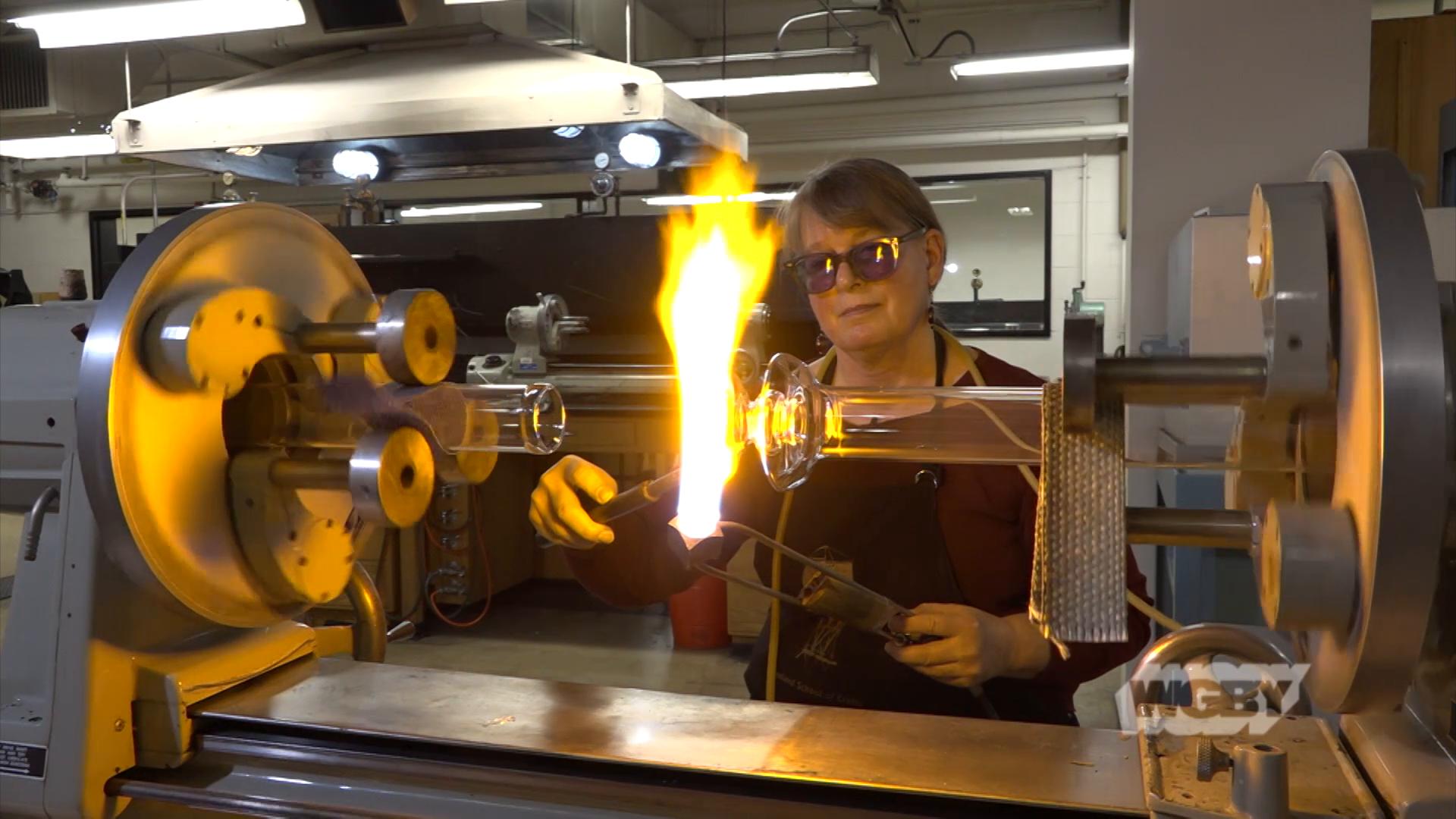 WATCH: Go inside the UMass Amherst Scientific Glassblowing Lab, where master glassblower Sally Prasch crafts custom scientific instruments for researchers.