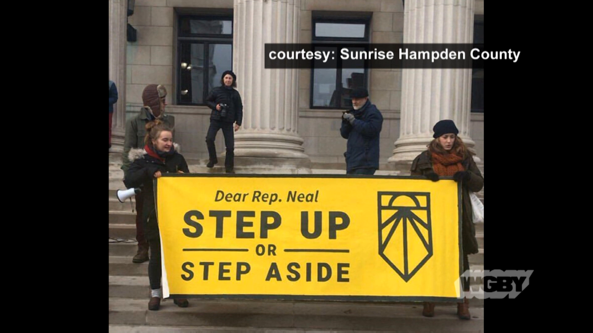 Sunrise Student protestors Elias Seeland & Sarah Reyes on why they joined a protest demanding Rep. Richard Neal support the Green New Deal.