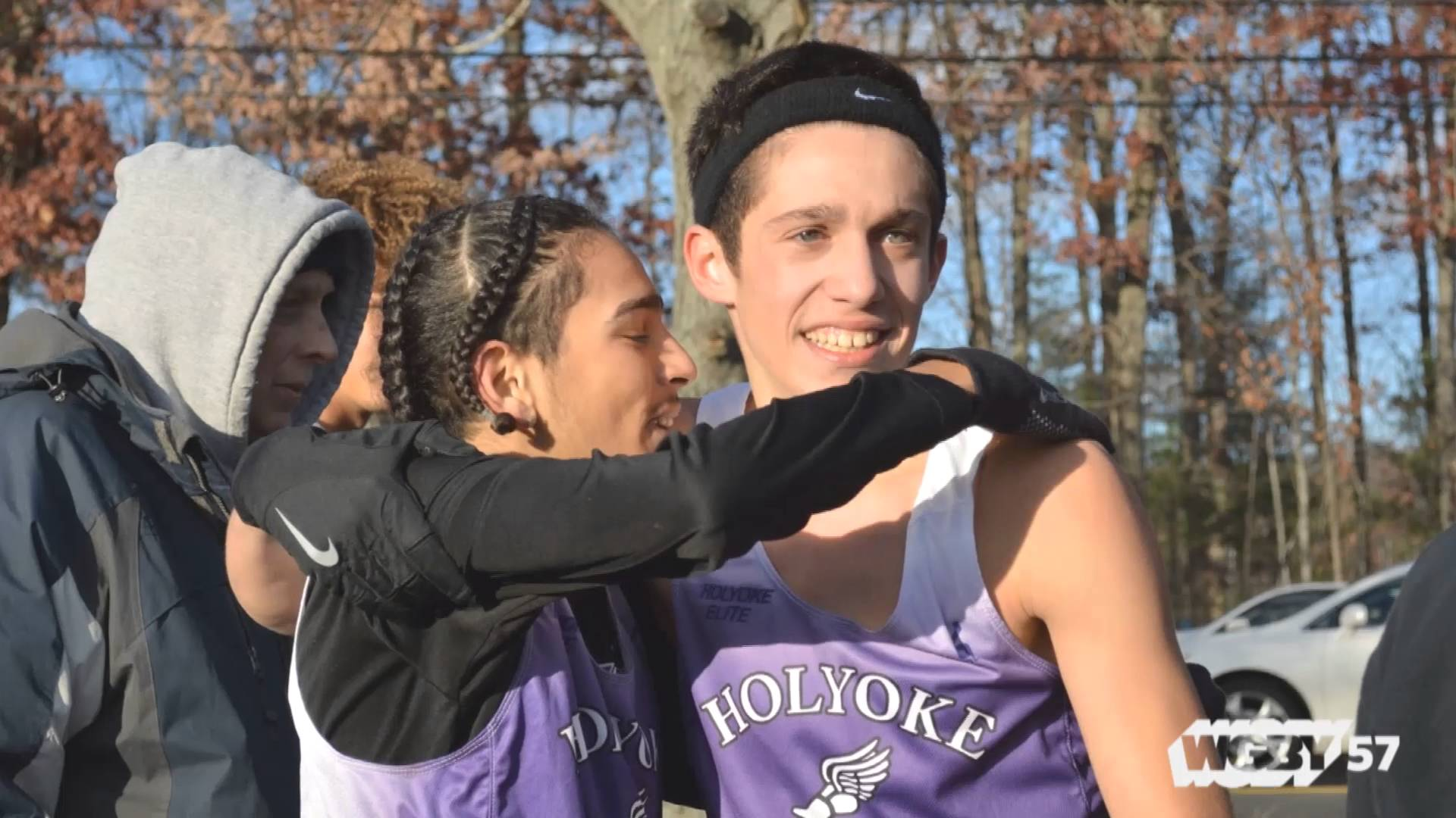 Members of the Holyoke High Cross Country & Track team celebrate, as seen on Connecting Point: American Graduate